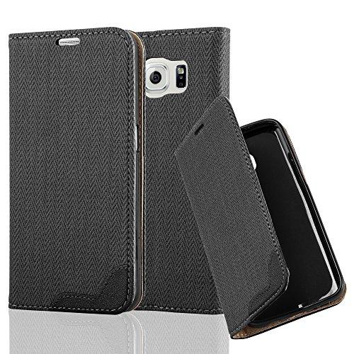Cadorabo Samsung Galaxy S6 Funda de Cuero Sintético Rafia en Negro ÉBANO Cubierta Protectora Estilo Libro con Cierre Magnético, Tarjetero y Función de Suporte Etui Case Cover Carcasa Protección Caja