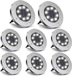 ZGWJ Solar Ground Lights,8 LED Disk Lights Upgraded Outdoor Garden Lights Landscape Lights for Lawn Pathway Yard Deck Pati...