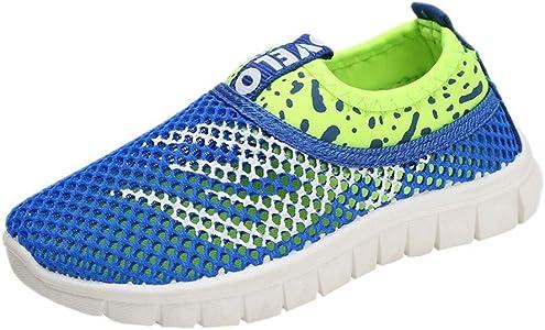 LANSKIRT_ZapatosZapatos Niño Colegio,LANSKIRT Zapatillas de Deporte Zapato Casuales de Malla con Estampados de Fuego para Niños Zapatillas Transpirables para Running