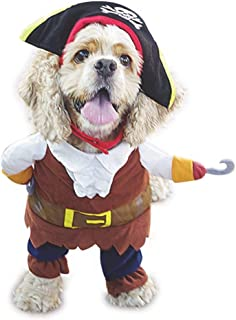 WORDERFUL Dog Pirates Costume Halloween Pet Clothes Cat Caribbean Style Dress Cosplay