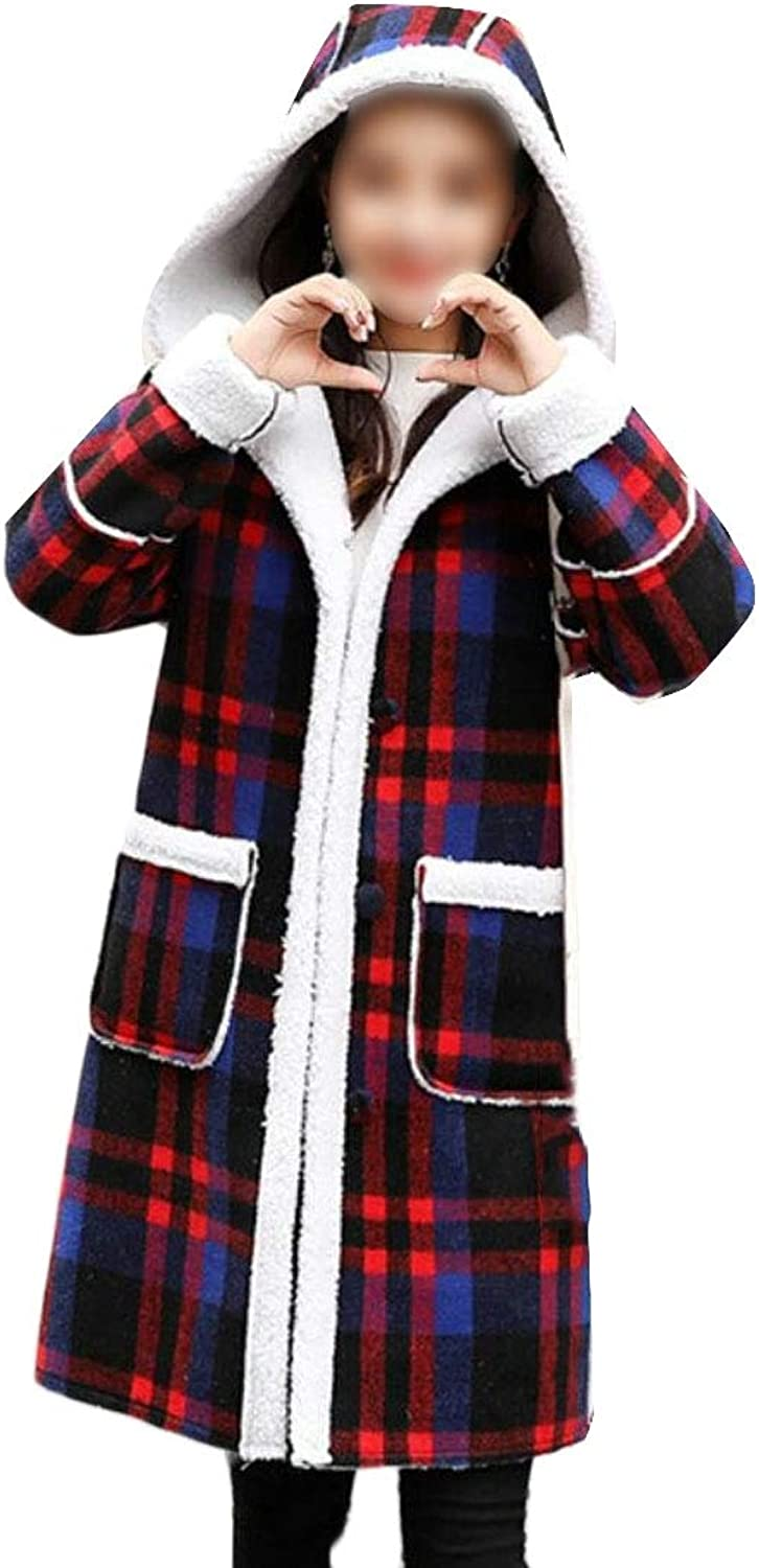 LEISHOP Womens Thick Woolen Mid Long Length Checked Faux Fur Lined Trench Coat
