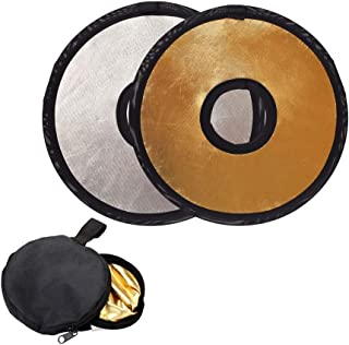 TXIN 2 Pieces 2-in-1 Photography Photo Reflector, 30cm Hollow Light Diffuser DSLR Lens-Mount Collapsible Light Reflector with Bag, Silver & Gold
