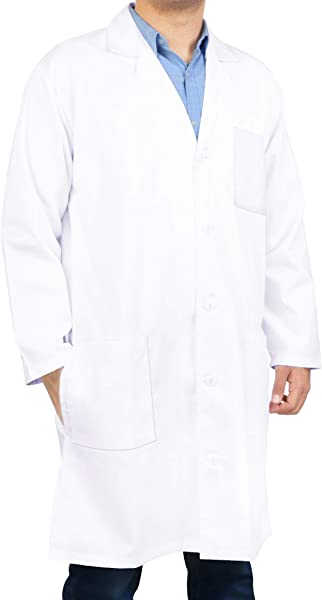 Utopia Wear Professional Lab Coat Men Lab Coat 41 英寸 Kick Pleat White