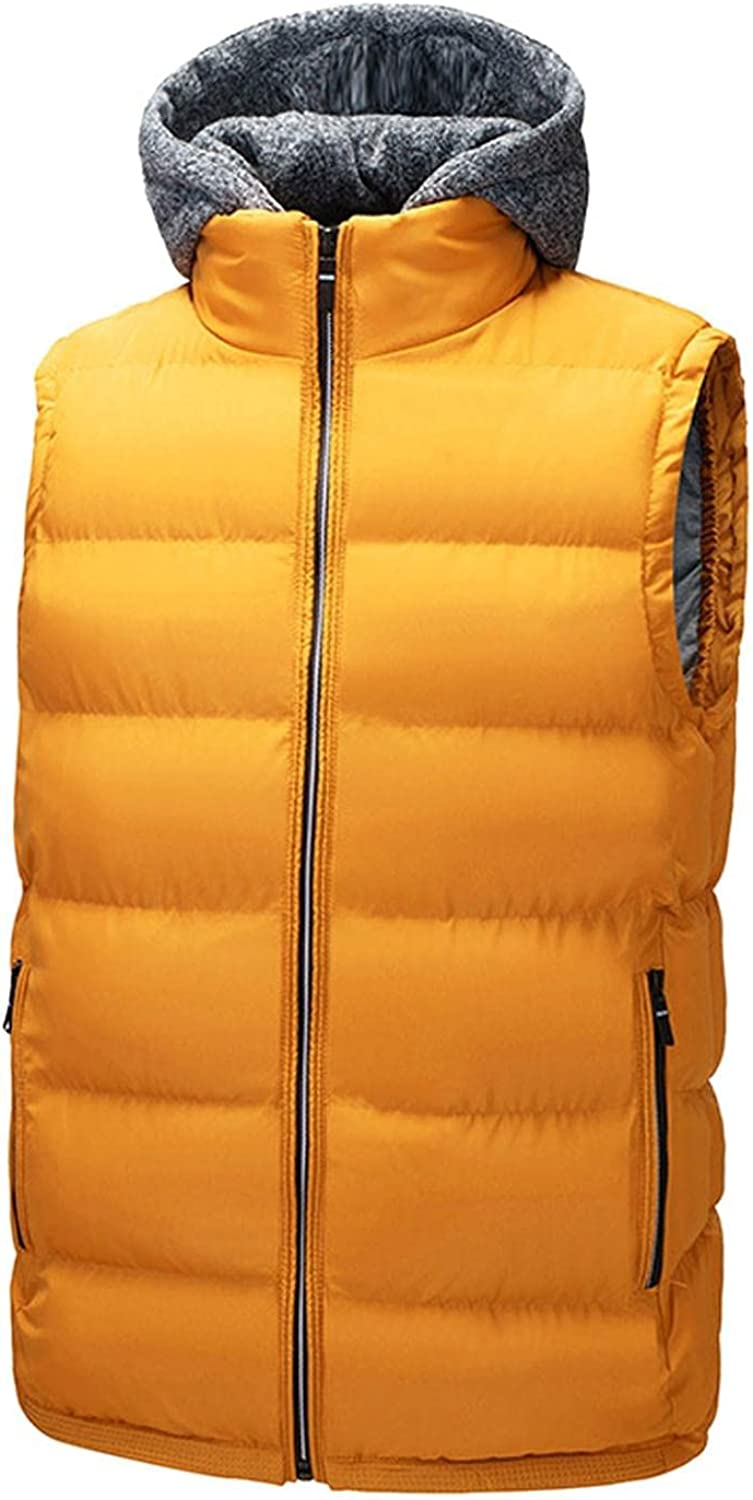 Huangse Mens Lightweight Hooded Puffer Vest Winter Warm Sleeveless Vest with Removable Hood Zip Up Padded Waistcoat Jacket
