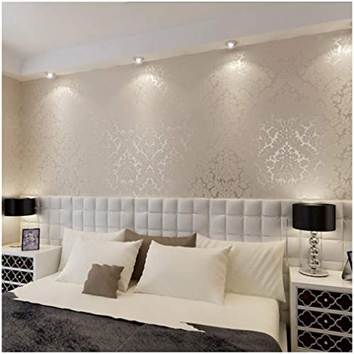 Wallpapered office home design Chandelier Qihang European Vintage Luxury Damask Wall Paper Pvc Embossed Textured Wallpaper Roll Home Decoration Cream Amazoncom Living Room Wallpaper Amazoncom