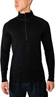 Men's Merino Wool Zip Top - Moisture Wicking Heavyweight Base Layer -X704