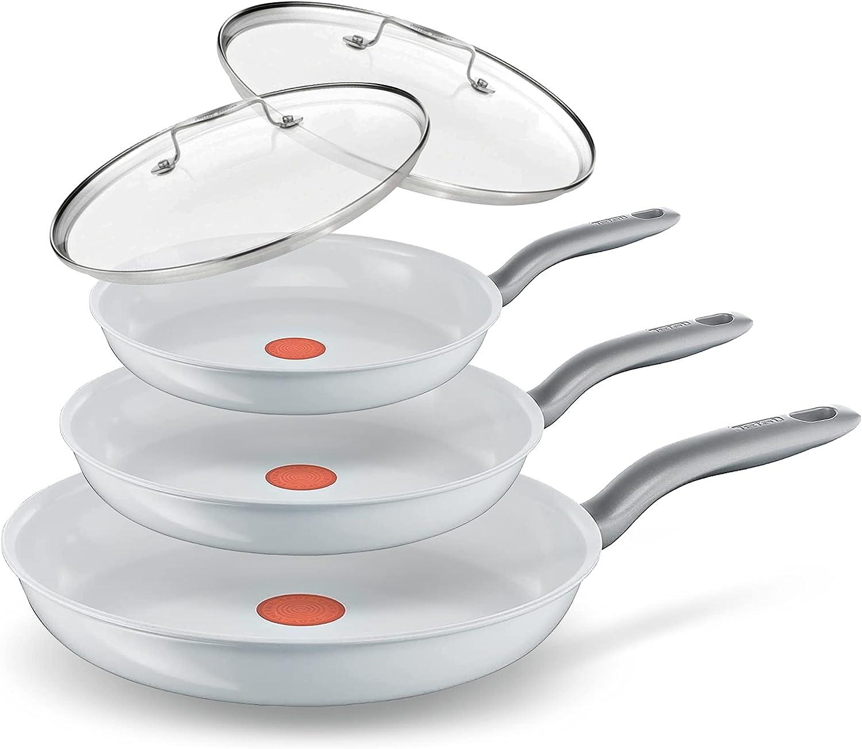 Tefal Juego de sartenes de cerámica con tapa, 5 piezas, aptas para todo tipo de cocinas, inducción, sellado de cerámica, aptas para horno hasta 175 °C, aptas para lavavajillas, resultados perfectos.