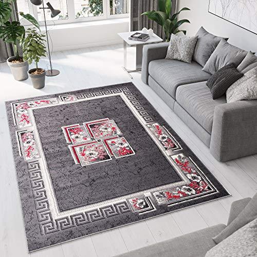 Tapiso Dream Teppich Wohnzimmer Schlafzimmer Kurzflor Modern Grau Creme Rot Griechisch Viereck Ornament Floral Bordüre Meliert ÖKOTEX 200 x 300 cm