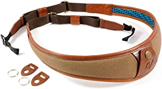 4V Design ALA Handmade Leather & Canvas Camera Strap w/Universal Fit Kit, Brown/Brown (2ALLUCV2223)
