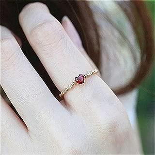Naomi Cute Dainty Women's 14K Gold PlatedHeart-Shaped Ruby Drill Rings Delicate Rings Gemstone Rings Wedding Jewelry CS Multi-Color 6
