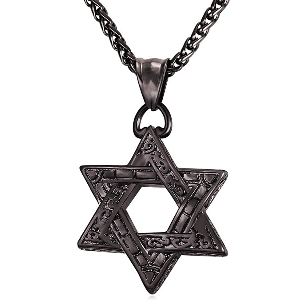 U7 Star of David Necklace with Free Chain Men Women Amulet Stainless Steel / 18K Gold Plated Jewish Jewelry Israel Necklace