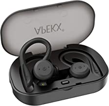 Wireless Headphones APEKX True Wireless Bluetooth 5.0 Sports Earbuds, IPX7 Waterproof Stereo HiFi Sound, Built-in Mic Earphones with Charging Case (Black)