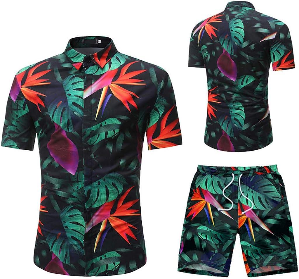 Litetao Men Shirt Beach Shorts 2 Piece Outfit Summer Floral Print Button Down Short Sleeve Shirts and Trunks Casual Tracksuit