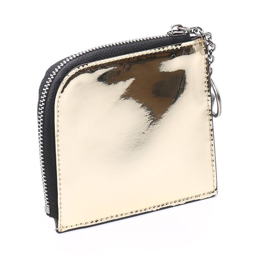 企業滑る話す[オムニア] 【セット品】 メタリックファスナーミニ財布 本革 サイフ レディース かぶせ さいふ コインケース付き crystal,onlyou オンリーユー(財布、ラッピング袋)