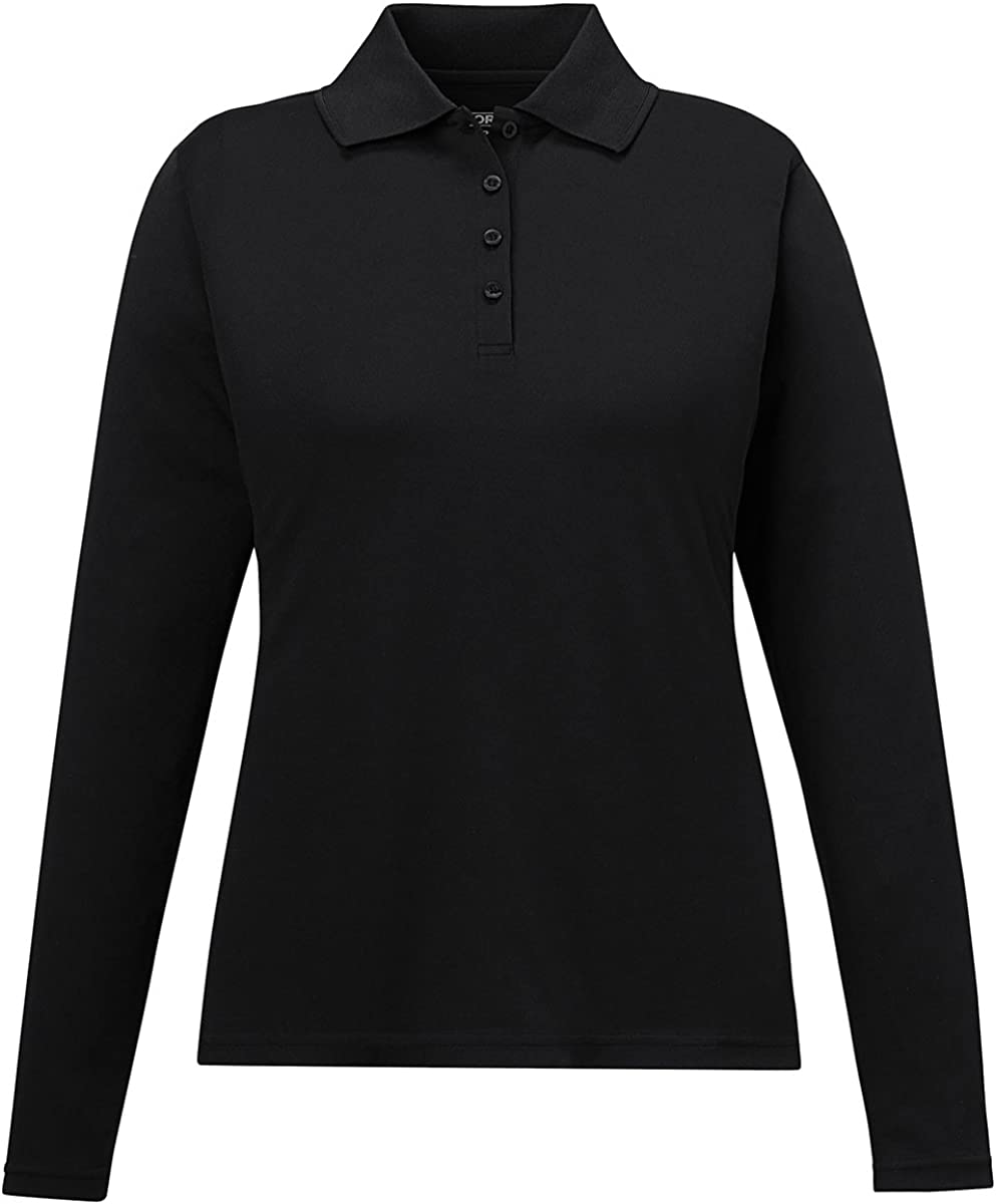 Pinnacle Ladies' Core 365 Performance Long Sleeve Pique Polo Shirt, M, Black