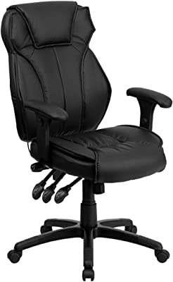 Flash Furniture High Back Black LeatherSoft Multifunction Executive Swivel Ergonomic Office Chair with Lumbar Support Knob with Arms