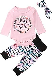 873712180358b Lily-Li 3Pcs Newborn Baby Girl Long Sleeve Romper Bodysuits + Floral  Striped Pants +