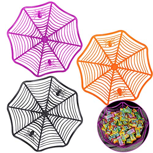 FiGoal 3 Pack Halloween Spider Web Basket Spider Plastic Candy Bowls for Halloween Party Supplies, Trick or Treat Candy For Kids Boys Girls