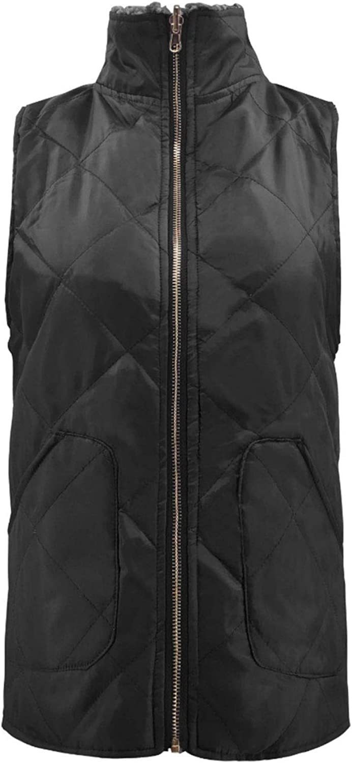 CHARTOU Women's Warm Reversible Padded Gilet Full Zip Quilted Lightweight Vest Jacket