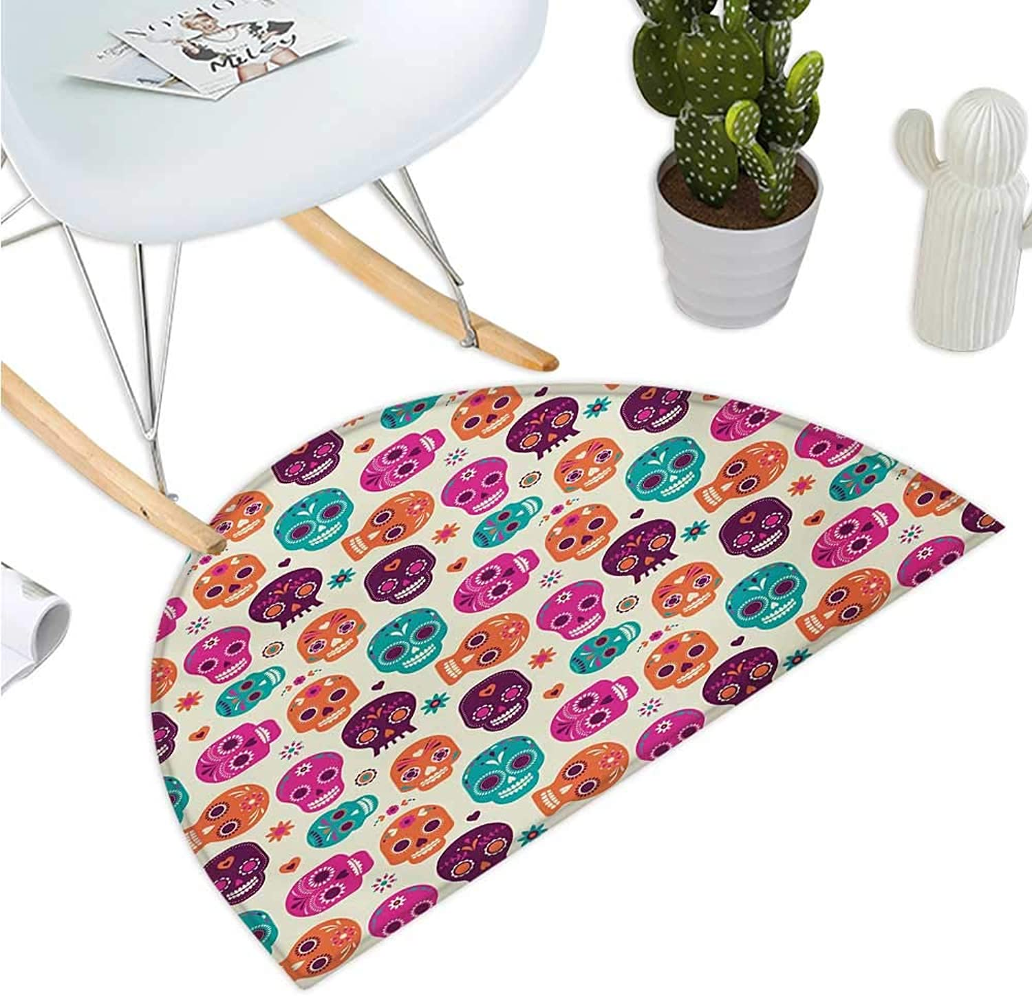 Sugar Skull Semicircular Cushion Cute colorful Skull Silhouettes Hearts and Flowers Carnival Celebration Theme Halfmoon doormats H 35.4  xD 53.1  Multicolor