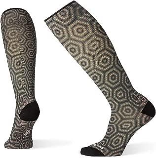 Smartwool Compression OTC Socks - Women's Hexa-Jet Print Over-the-Calf, Ultra Light Cushioned Merino Wool Performance Socks