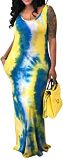 b038155728c XUGWLKJ Women s Plus Size Tank Maxi Dresses Clubwear Printed Dress Gradient  Color