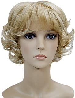 Kalyss Women's wigs Short curly Syntheitc Golden Blonde Hair Wig