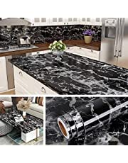 UCRAVO Peel and Stick Countertop Contact Paper Waterproof Kitchen Countertop Paper Black Marble Wallpaper for Furniture Desk Table Cabinet Covers Removable Backsplash