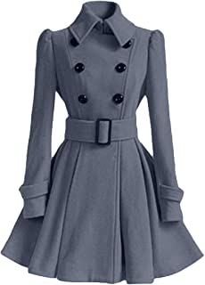neveraway Women's Fit and Flare Wool Blended Trench Coat with Belt
