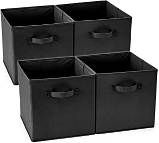EZOWare Set of 4 Foldable Fabric Basket Bin, Collapsible Storage Cube Boxes for Nursery Toys (13 x 15 x 13 inches) (Black)