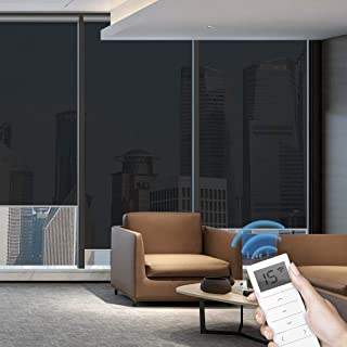 Graywind Motorized Roller Shades 50% Light Filtering Window Shades Fireproof Roller Blinds Cordless Window Blinds with Valance for Smart Home & Office & Business Places, Customized Size, Black