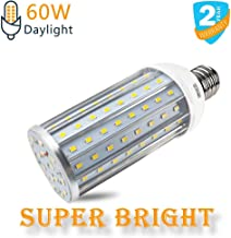 Intpro 60W LED Corn Light Bulb Lamp, 6000LM E26/E27 6500K 85V~265V Super Bright Light for Indoor Large Area, Garage barn Workshop Warehouse Factory Porch Backyard High Bay Street Outdoor
