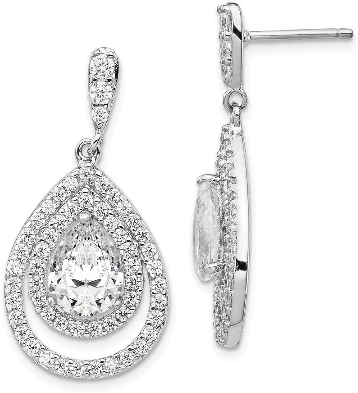 Beautiful Sterling silver 925 sterling Cheryl M Sterling Silver Rhod Plated Double Pear CZ Post Dangle Earrings