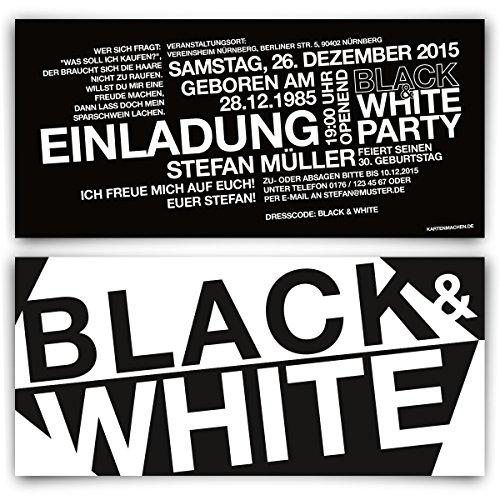 Geburtstag Einladungskarten (30 Stück) - Black & White - Schwarz Weiß Party Einladungen