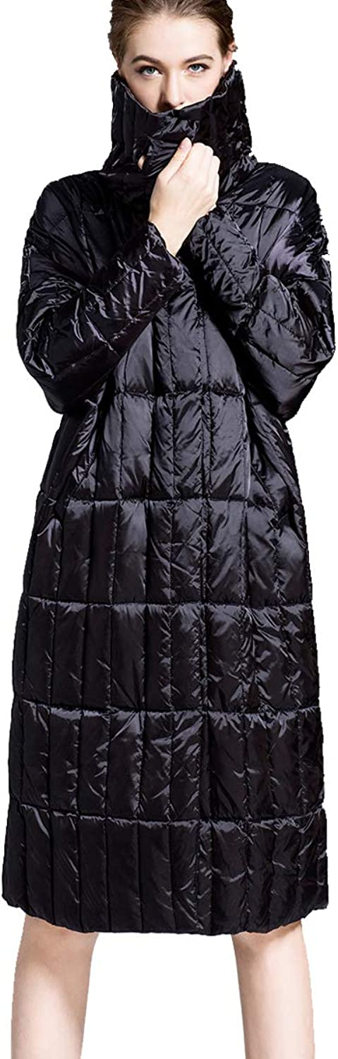 2018 Winter Sliver Black color Duck Down Jacket Female Loose Style Fashion Outdoor Wear Big Size
