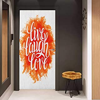 Soliciting Sticker for Door Live Laugh Love Hand Drawn Style Cheerful Brushstroke Background Motivation Phrase Print Mural Wallpaper W17.1 x H78.7 Orange White