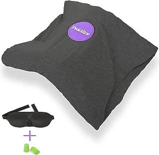 Almohada para Cuello de Viaje 100% Algodón con Soporte de Espuma de Memoria , Máscara para Dormir 3D, Tapones de Oídos – Almohadas para Avión – Funda de Almohada de Vuelo para Dormir Accesorios de Viaje – Esenciales de Viaje Negro