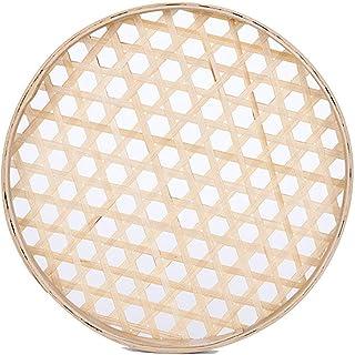 100% Handwoven Flat Wicker Round Fruit Basket Woven Food Storage Weaved Shallow Tray Organizer Holder Bowl Decorative Rack...