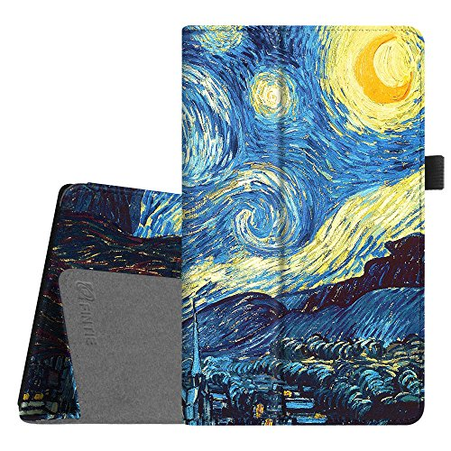 Fintie Folio Case for Amazon Fire HD 8 Tablet (Compatible with 7th and 8th Generation Tablets, 2017 and 2018 Releases) - Slim Fit Premium Vegan Leather Standing Protective Cover, Starry Night