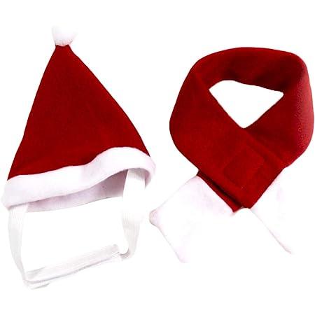 PetPhindU Sombrero y Bufanda De Navidad para Perro Set De 2, Accesorio De Sombrero Térmico De Color Sólido para Perro Mascota