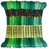 Premium Rainbow Color Embroidery Floss - Cross Stitch Threads - Friendship Bracelets Floss - Crafts Floss - 14 Skeins Per Pack Embroidery Floss, Blue Green Gradient