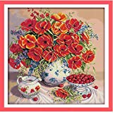 Kits de punto de cruz de amapola flor de cerezo punto de cruz DIY costura 11CT contado China para bordado artesanal decoración del hogar 62x62cm
