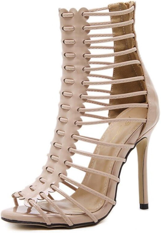 LINYI Women Stiletto Heels Open Toe Heel Zipper Fine Sandals Gladiator Boots
