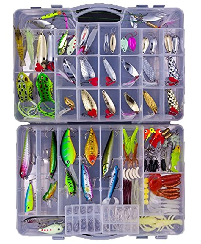 KMBEST Fishing Lures Mixed Lots Including Hard Lure Minnow Popper Crankbaits VIB Topwater Diving Floating Lures Soft Plastics Worm Spoons Other Saltwater Freshwater Lures with Tackle Box