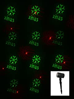 Christmas Red & Green Multiple Pattern Garden Projector Laser Light - 12m x 12m