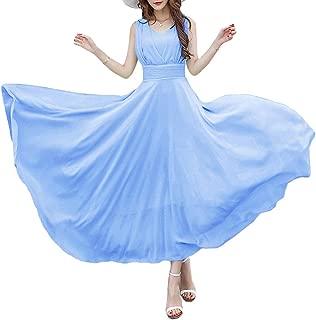 Afibi Women Double Sleeveless Ruched Waist Ladies Long Evening Dress