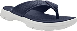 KazarMax Mens' Navy Quilted Walking Flip-Flops (Made in India)
