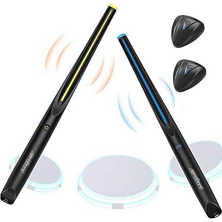 AEROBAND ポケットドラム ドラムスティック 新時代の技術 Bluetoothワイヤレス接続ポケットドラム エア電子ドラムセット 3モードポータブルドラムスティック 二次元楽器 超低遅延 ライト付き 振動アリ 現実のドラムセットと同じ(ドラムスティック・ペダルセンサー× 2枚 セット)