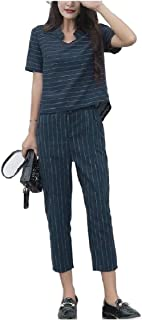 Howely Womens Casual Linen Pinstripe 2pcs Ankle Pants Tracksuit Set