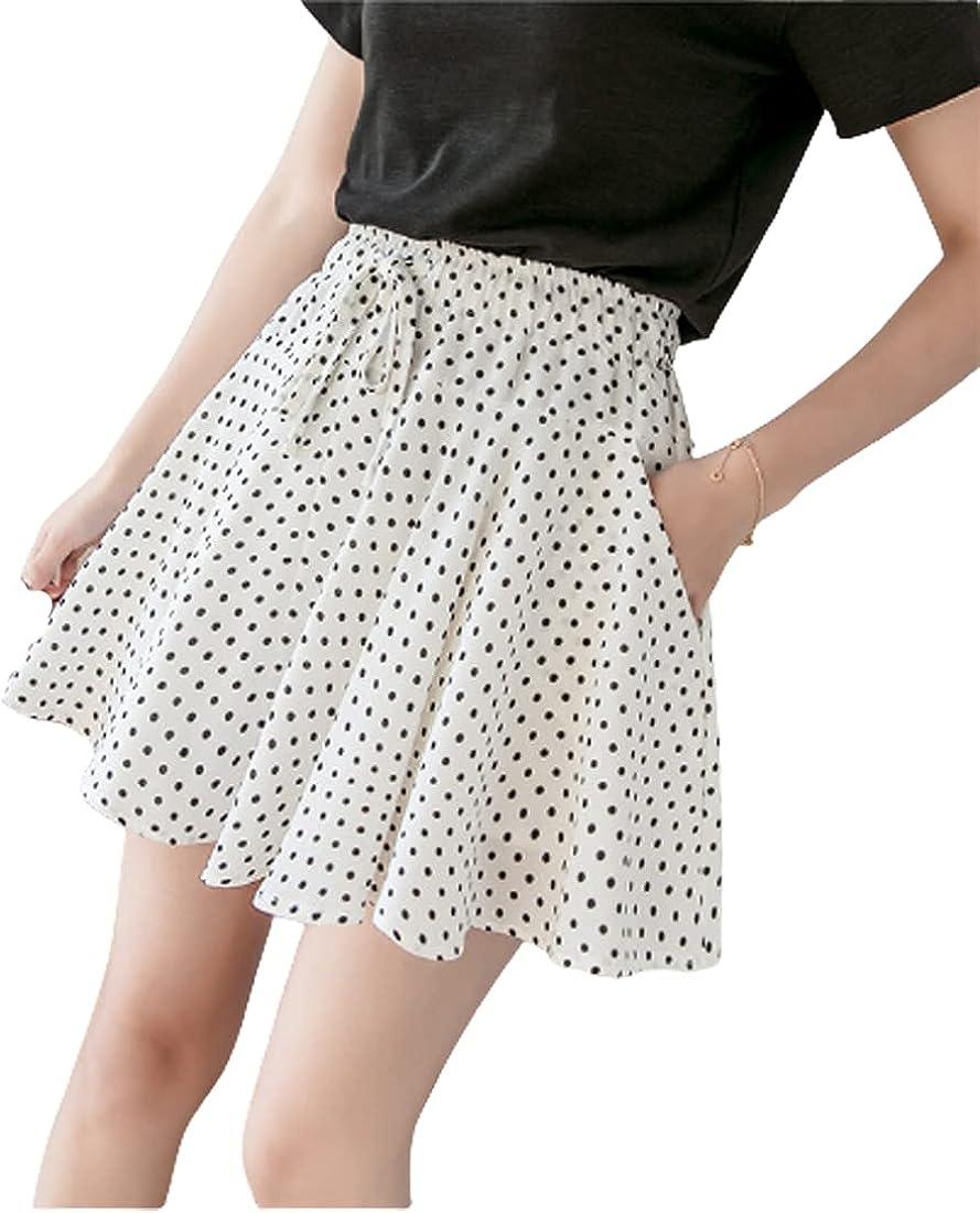 G-dress Globalwells Women Mini Tutu Skirt Drawstring Swing Boho High Waist Elastic A Line Skirt with Pocket